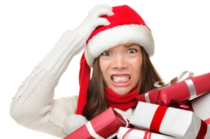 Christmas stress - busy santa woman