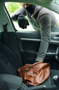 Thief stealing from purse in car, break-in