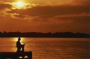 Fishing, dock, sunset